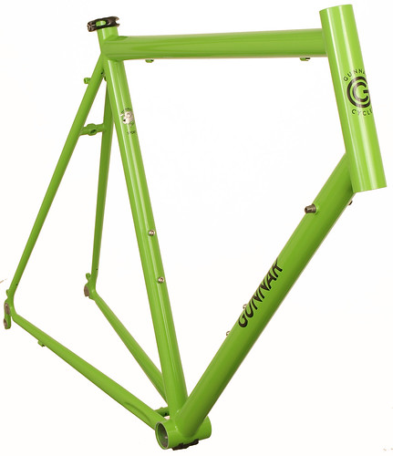 <p>Front view of Gunnar Sport in Willow Green with Black Bullseye Decals.  The Sport offers a smooth ride and the capacity for 28C tires plus fenders in a lightweight package.  It's ideal for randonneuring, centuries, commuting and light touring.</p>