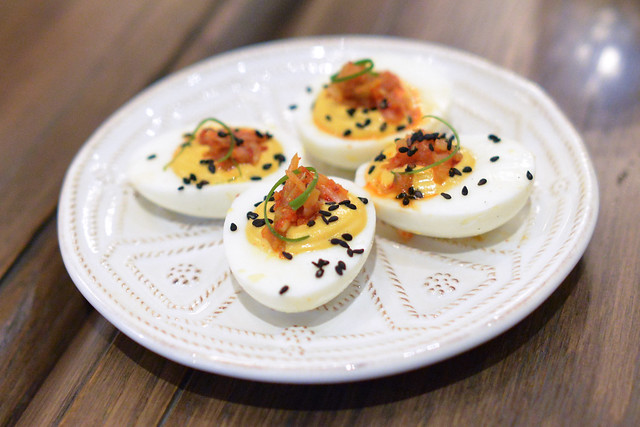 deviled jidori eggs korean chili, kimchee