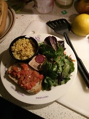 Moroccan Cous Cous and Chicken with Salad and Bruschetta on a Portion Perfection Plate