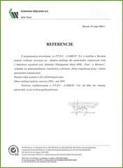 Referencje Kompanii Węglowej 2004r.
