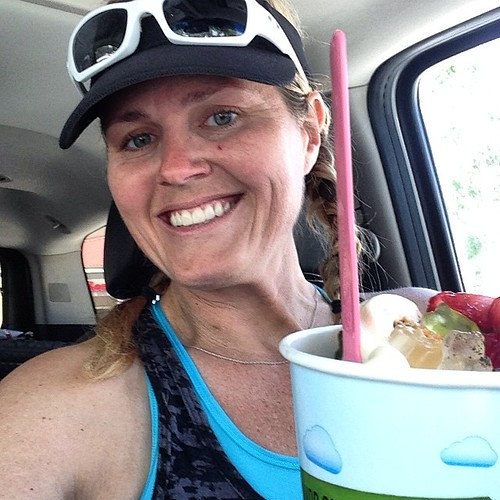 Finished my race earlier and drove to @yogurtlandinc for lunch. So hot, it was the only thing that sounded good. Of course, I am starving now!