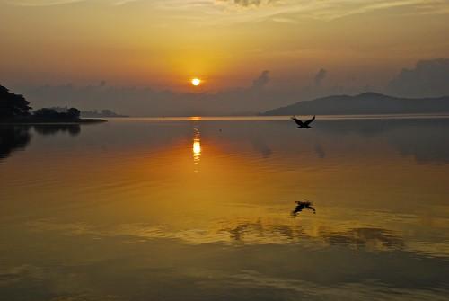 sky birds sunrise reflections boats fishermen 2012 munyonolake july10to15th