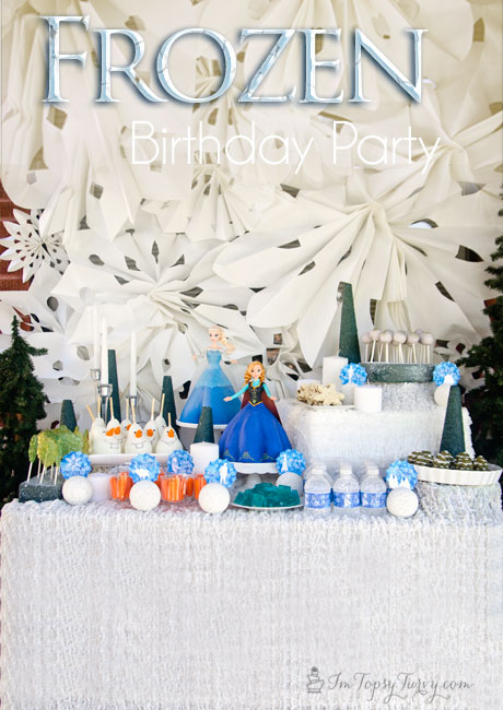 complete Frozen birthday party with themed food crafts and fun #disneyside #frozenfun #topsyturvyparties