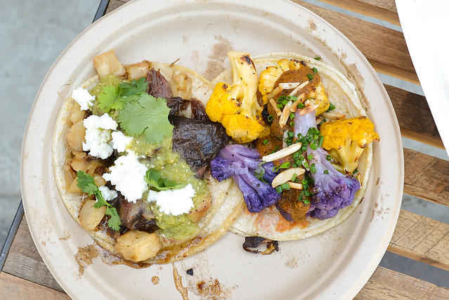 Jaime Farms Purple & Gold Cauliflower medjool dates, olives, yellow tomato chile, herbs, almonds & Lamb Shank celery root hash, feta cheese, raw tomatillo chile, cilantro