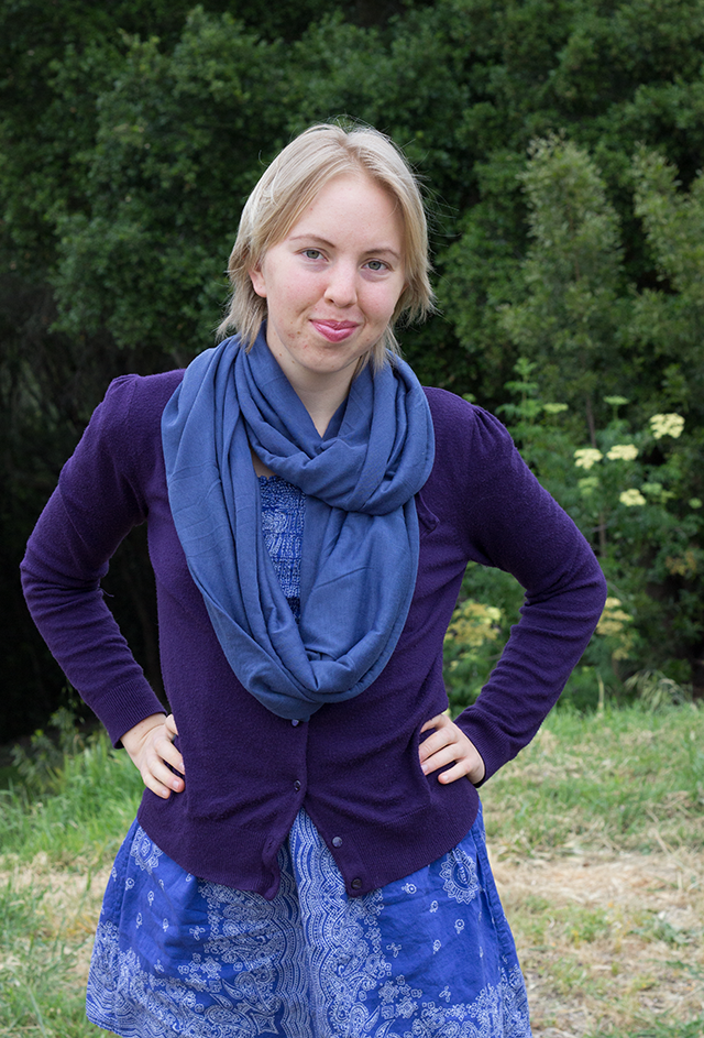 blue circle scarf, purple cardigan, blue printed dress