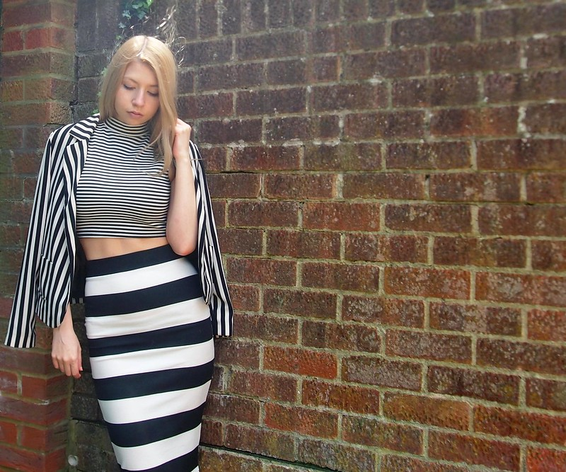 Sam Muses, UK Fashion Blog, London Style Blogger, Monochrome, Stripe, Jane Norman, Midi, Pencil Skirt, Midi, Breton, Below Knee, Quiz, Crop Top, High Neck, Primark, Blazer, Print Clash, Mix, How to Wear, Style Inspiration, Outfit Ideas, SS14