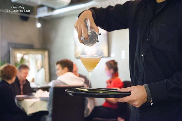 Pouring my White Peach Martini