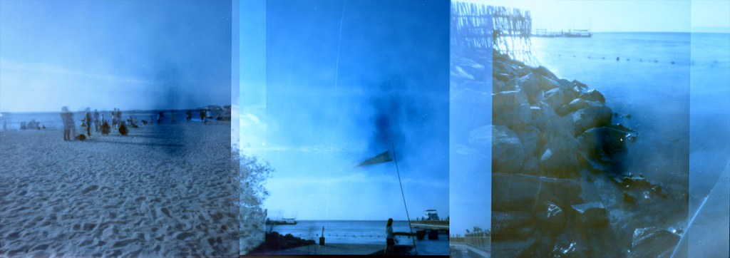 bendera-flag-pinhole-camera-ancol-pantai-beach-sea-laut-ektacolor-blue-sky-water-slow-overlaping-double-exposure-bridge
