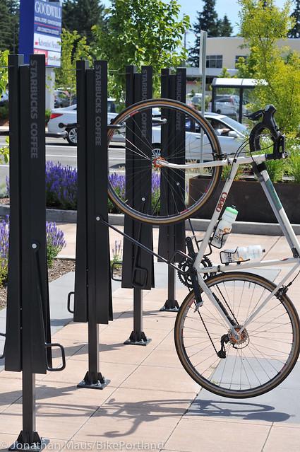 Starbucks bike parking 122nd & Halsey