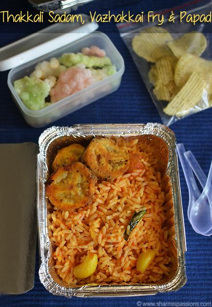 Thakkali sadam vazhakkai fry travel lunch idea7 sharmis passions thakkali sadam vazhakkai fry forumfinder Images