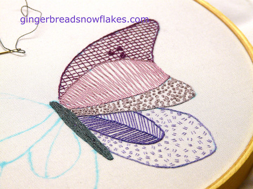 Butterfly wing - experimenting with single stran floss embroidery