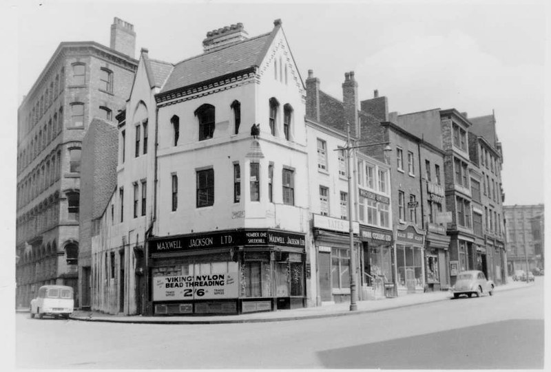 Old Building No 1 Shudehill, the third building was the Bay Horse, May 1958