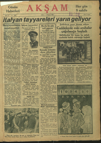 Aksam newspaper from the collection of the National Library of Turkey
