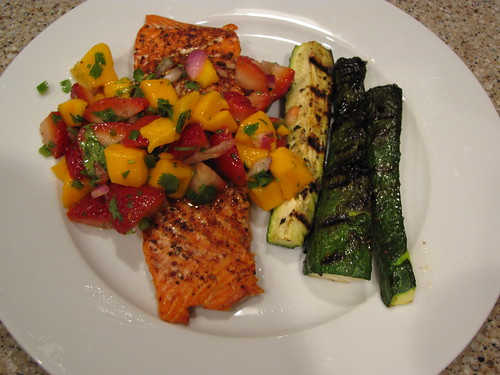 Salmon with Strawberry Mango Salsa