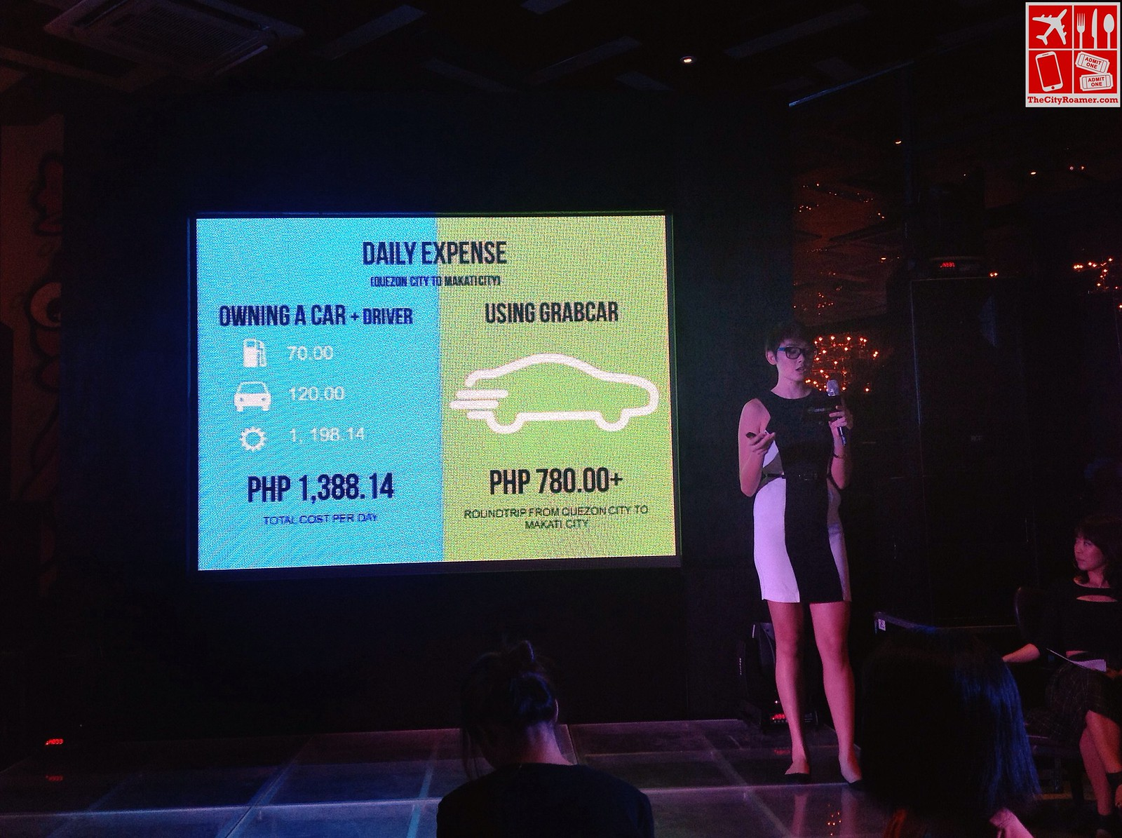 GrabTaxi VP for Marketing and Assistant General Manager Natasha Bautista presents a comparison between owning a car and using GrabCar daily during the GrabCar Media Launch