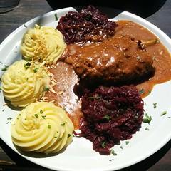 meal, lunch, meat, salisbury steak, food, dish, cuisine,