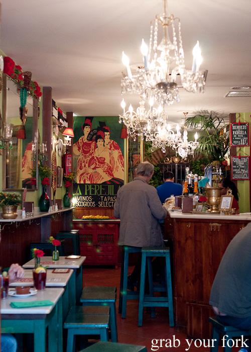 Decor inside La Perejila tapas bar on Cava Baja in Madrid, Spain