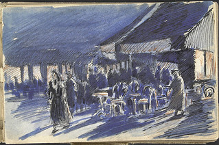 View of an outdoor café, Paris, France [Sketchbook 12, folio 1r] / Vue d'une terrasse d'un café, Paris, France [Carnet de croquis 12, folio 1r]