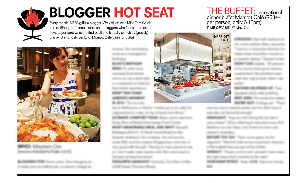 Blogger Hot Seat: Me featured in marriott cafe