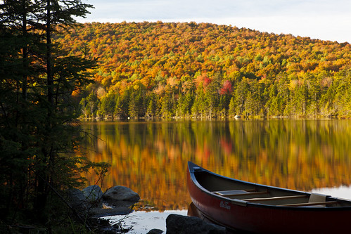 A canoe on the shoreline of Pond of Safety in the Randolph Community Forest in Randolph, NH. White Mountains National Forest, Ammonoosuc River watershed. Photo: Jerry and Marcy Monkman/EcoPhotography.com. Used with permission