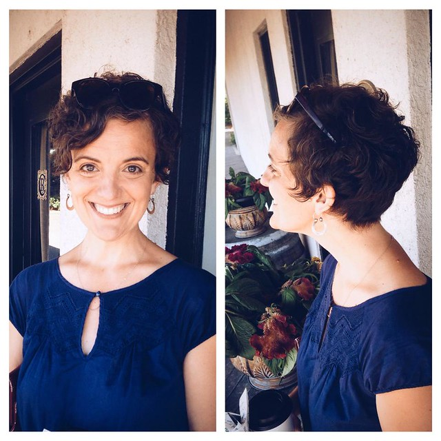 Rachel's short hair