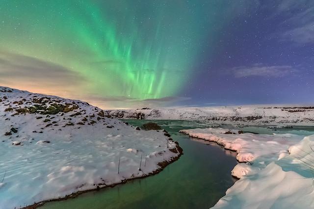 'A Stream of Polar Light' - Urridafoss, Iceland