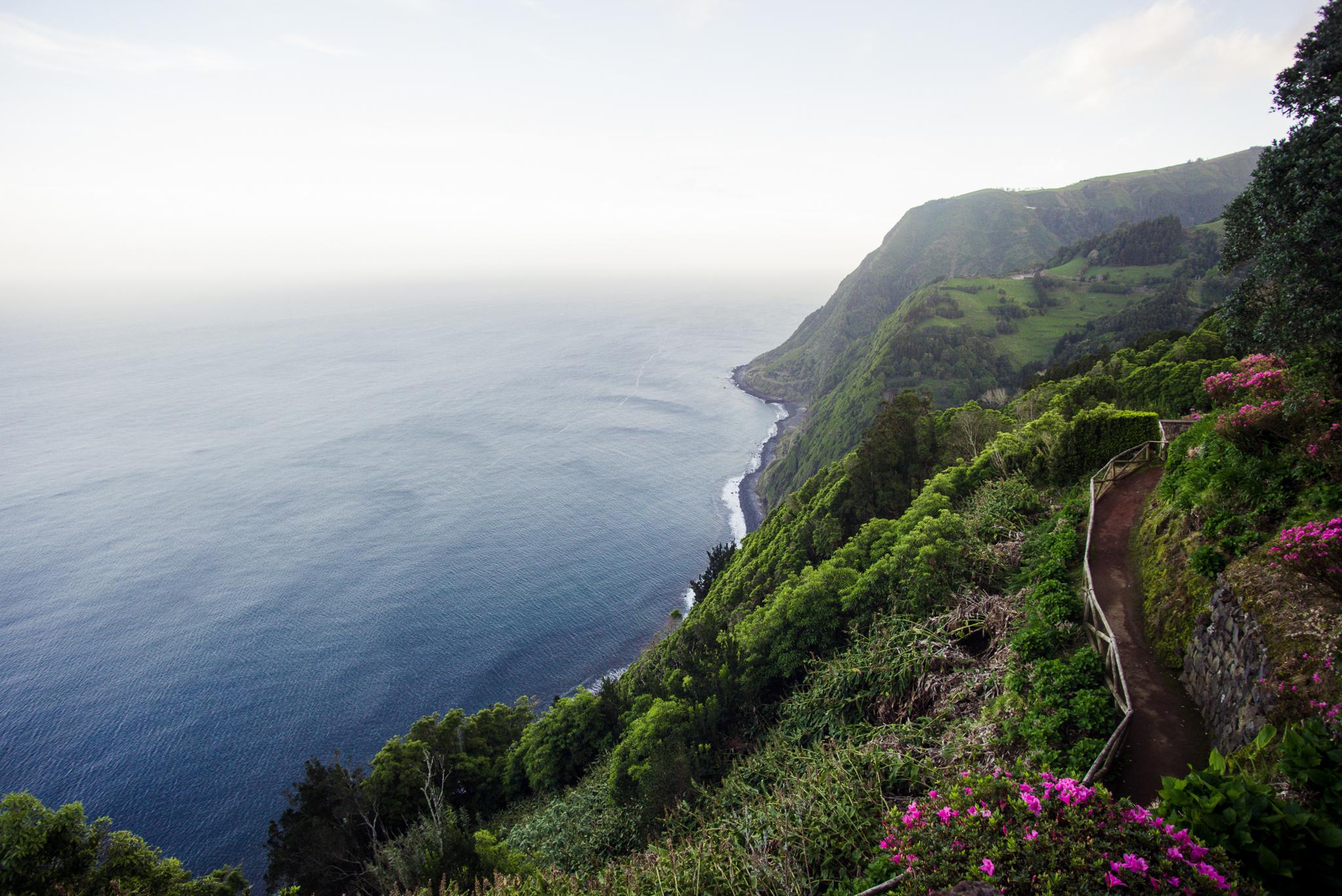 Ponta do Sossego kilátó az Azori-szigeteken.