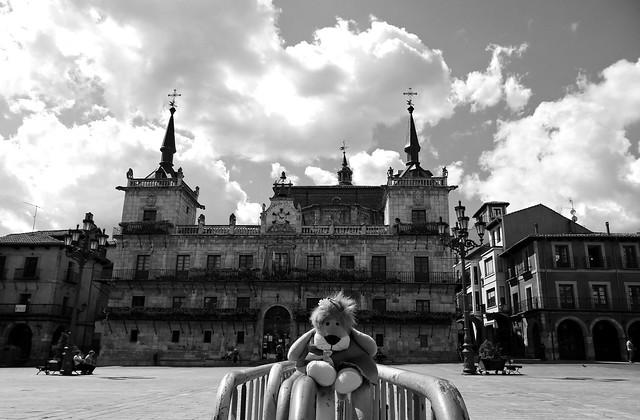 Plaza Mayor de León, España.