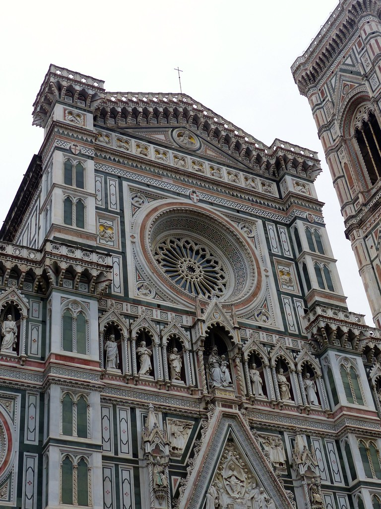 exterior photo of Cattedrale di Santa Maria del Fiore with layers of coloured marble