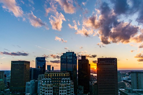 rokinon rokinon12mm sony sonyalpha sonya6000 a6000 alpha6000 customhousetower boston massachusetts newengland downtown city skyscrapers view wideangle focuspeaking focus sunset clouds gorillapod