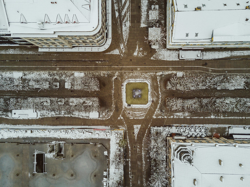 Snow in April | Kaunas Aerial