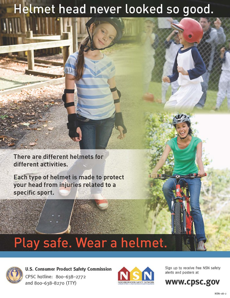 Poster of different helmets on children doing different sports