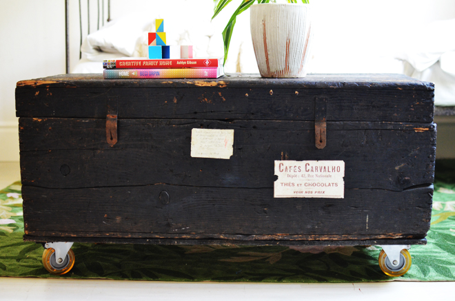 vintage trunk and casteres