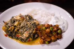 Palak paneer, chickpea dahl, raita and rice