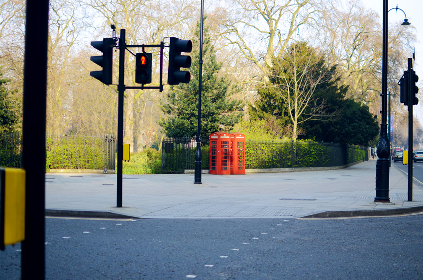 traffic ligts red man and red phone boxes