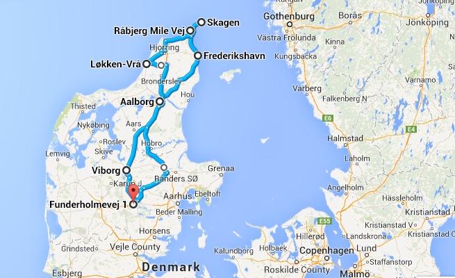Map Day2Route Silkeborg-Skagen