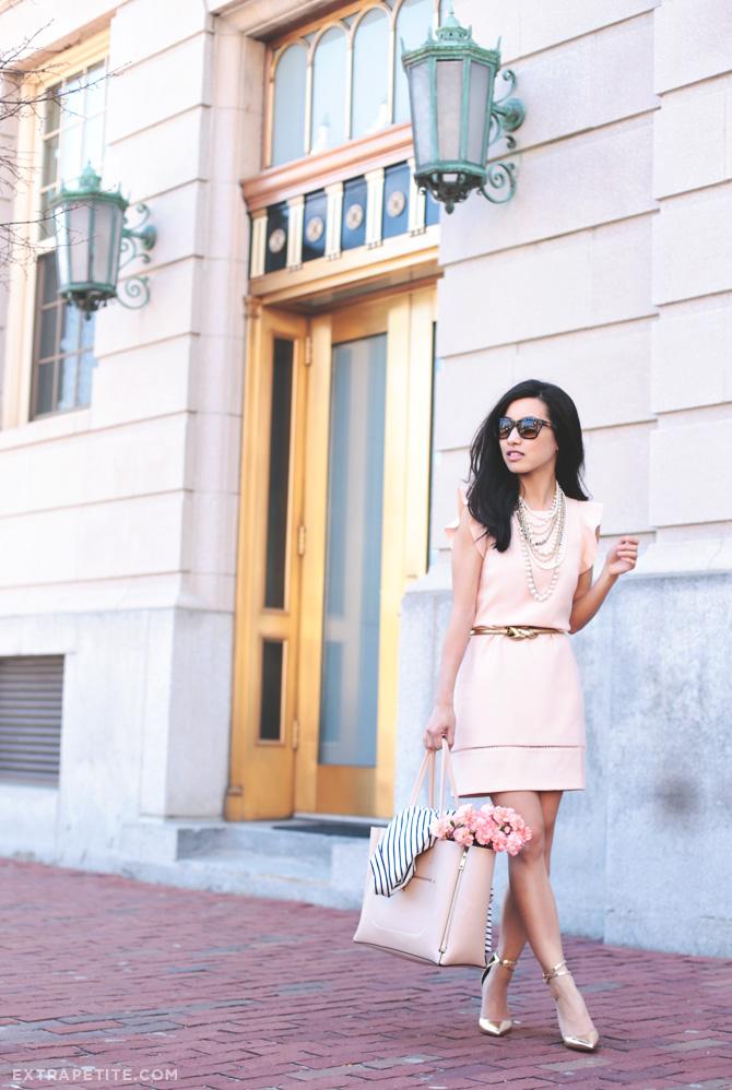 pink dress gold heels1