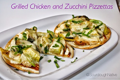 grilled chicken and zucchini pizzettas