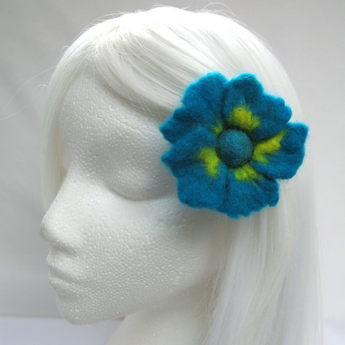 Small felt hair flower on a bobby pin