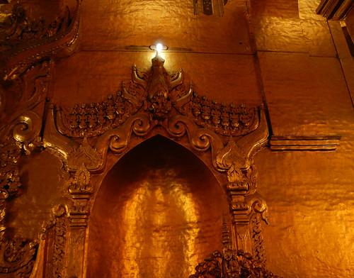 the Golden Walls at the Lumpy Gold Buddha at the Mahamuni Pagoda in Mandalay