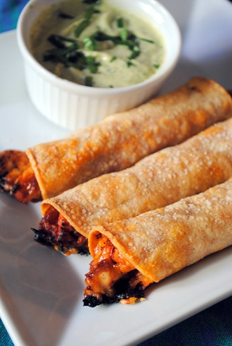 Gluten Free Barbecue Chicken Taquitos with Avocado Ranch Dip