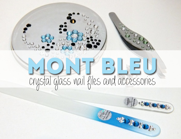 Mont Bleu crystal glass nail files, tweezers, and compact mirror