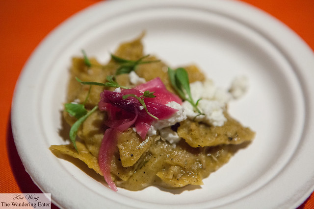 Chilaquiles with pulled chicken, pickled red onion, feta by The Stanton Social