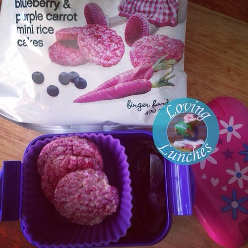 Loving purple today… as luck would have it Honey has her gym snack box with purple muffin liner, red grapes and purple rice cakes for today's snack