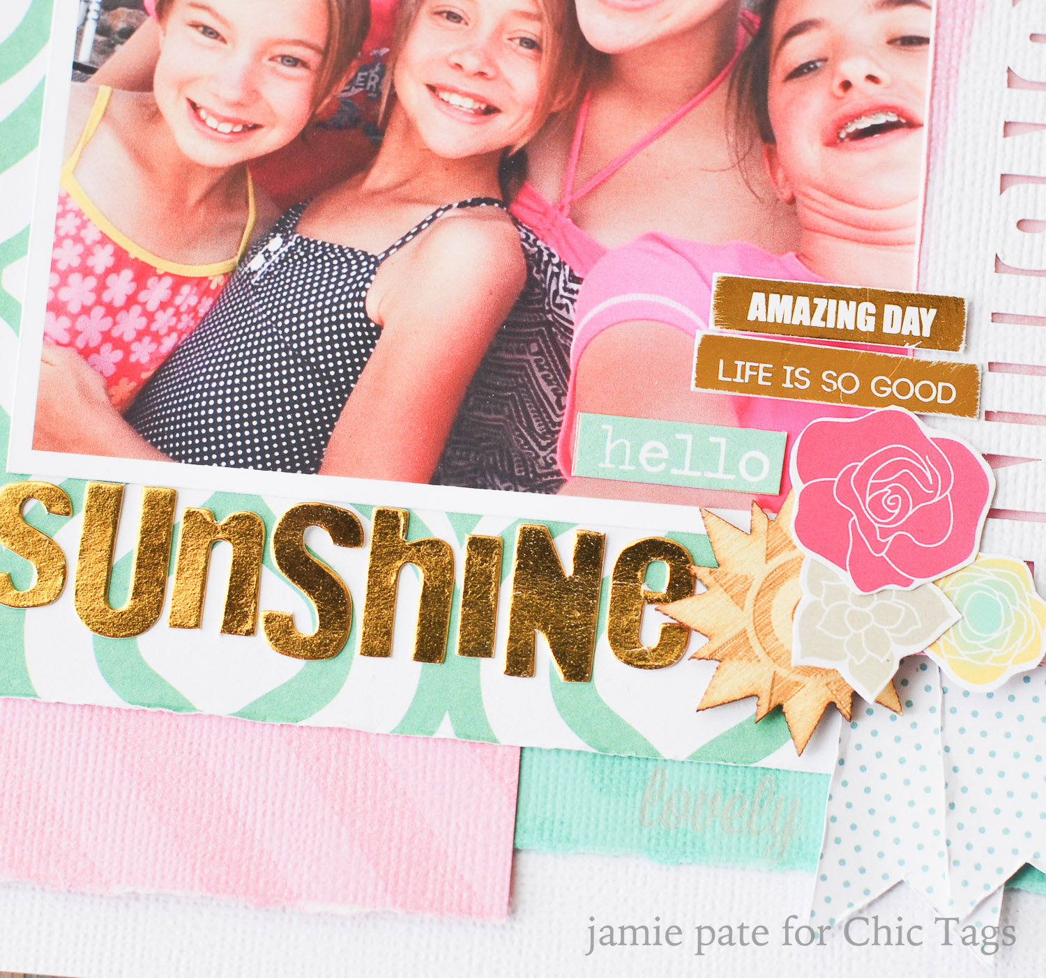 Chic Tags Good Day Sunshine layout by jamie pate