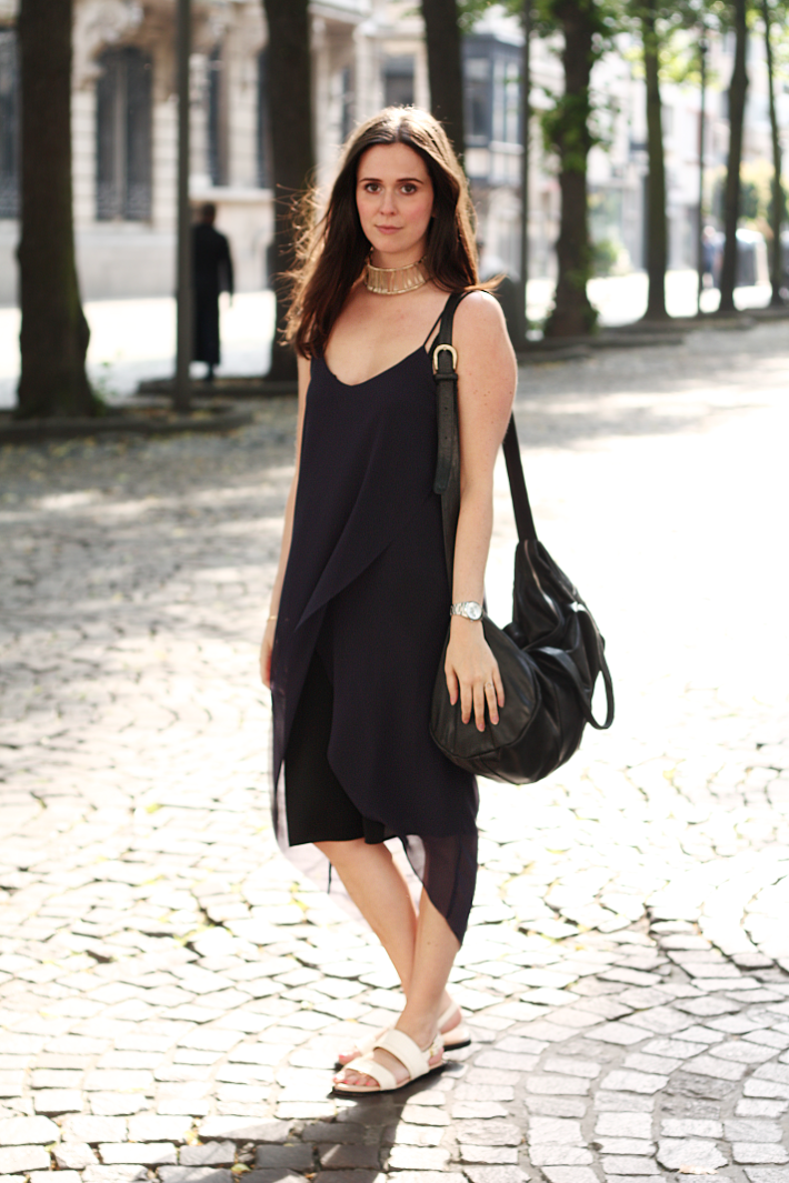 navy asymmetrical dress white zign sandals choker & other stories