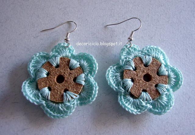 orecchini a fiore di sughero e cotone 2