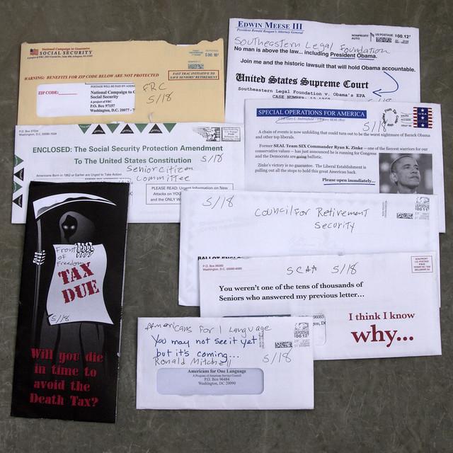 8 random political junk mail