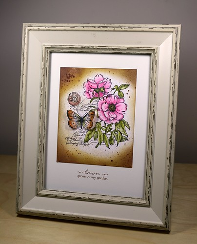 Vintage Rose and Butterfly Home decor frame