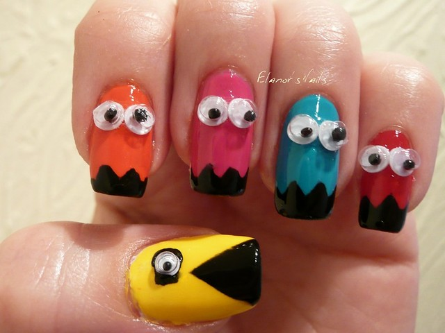 Elanors nails pacman nails and born pretty store googly eyes for this design i used barry m yellow shocking pink guava and blood orange and opi roll in the hague i then taped off the nails and used rimmel black prinsesfo Image collections